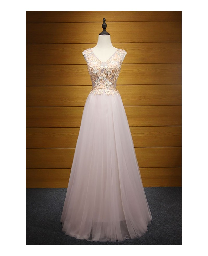Blush A-line V-neck Floor-length Tulle Prom Dress With Appliques Lace