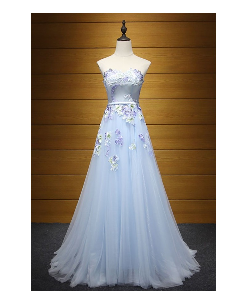 Blue A-line Sweetheart Floor-length Tulle Prom Dress With Appliques Lace