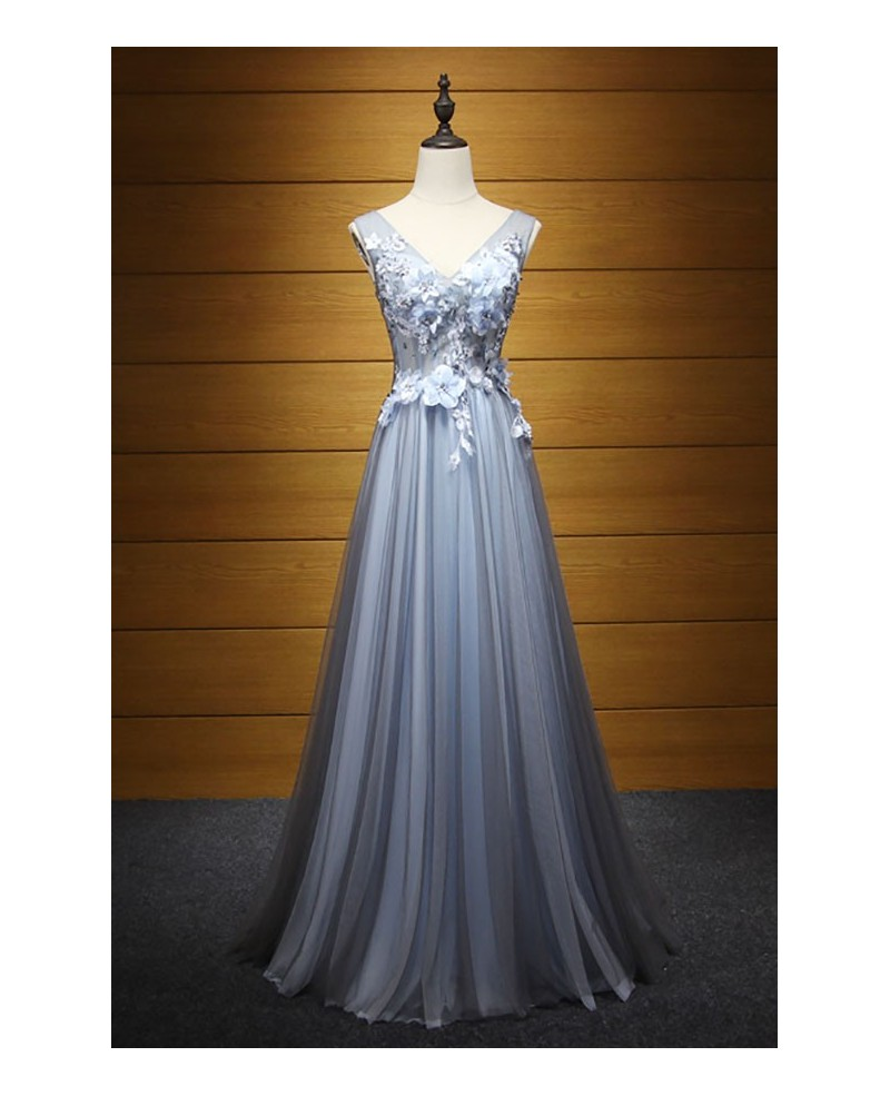 Romantic A-line V-neck Floor-length Tulle Prom Dress With Open Back