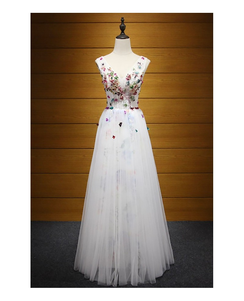 Special A-line V-neck Floor-length Tulle Prom Dress With Beading