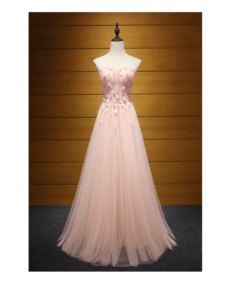 Pink A-line Sweetheart Floor-length Tulle Prom Dress With Beading