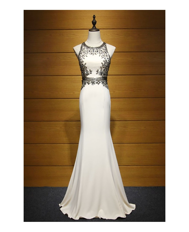 Exclusive Sheath Scoop Neck Floor-length Satin Prom Dress With Beading