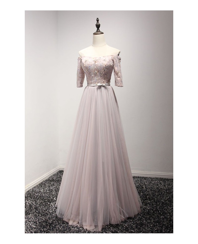 Feminine A-line Off-the-shoulder Floor-length Tulle Prom Dress With Appliques Lace