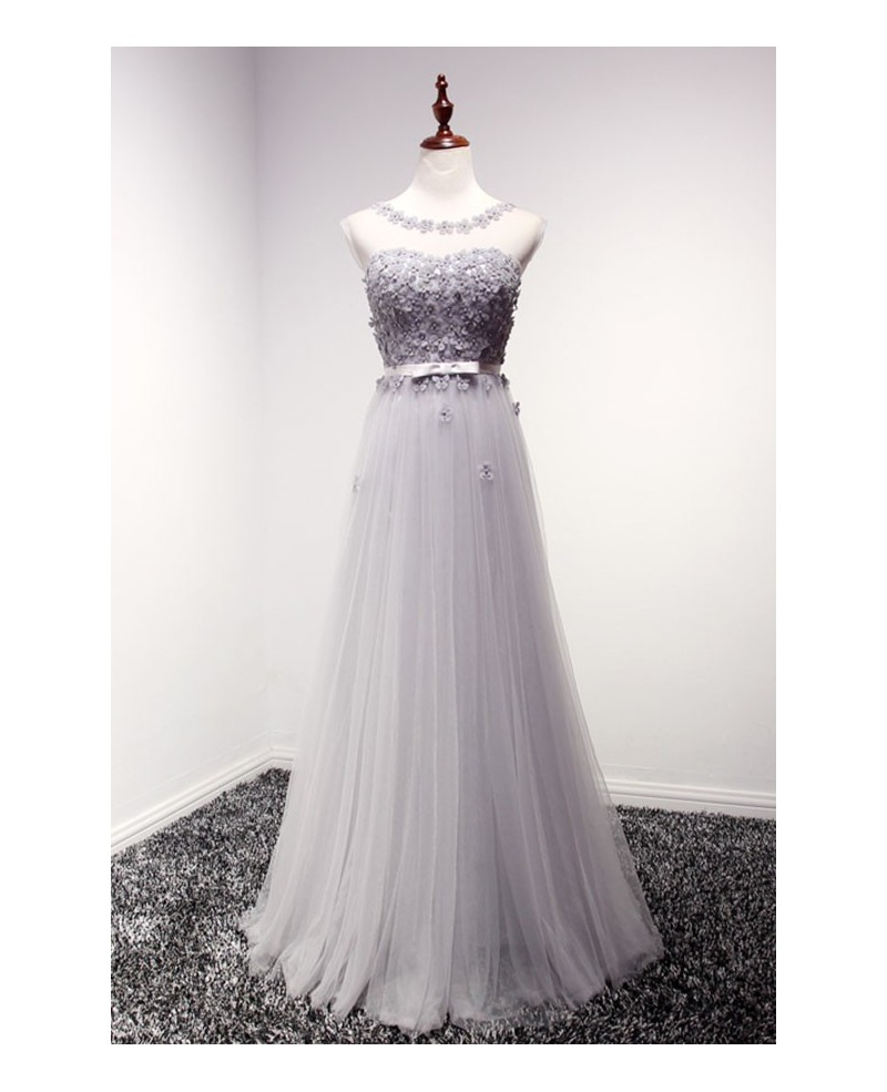 Dusty A-line Scoop Neck Floor-length Tulle Prom Dress With Flowers