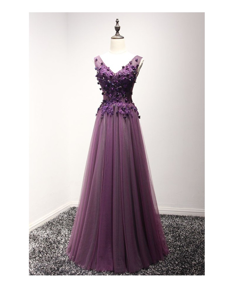 Grape A-line V-neck Floor-length Tulle Prom Dress With Appliques Lace