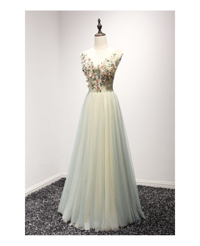 Dreamy A-line V-neck Floor-length Tulle Prom Dress With Beading