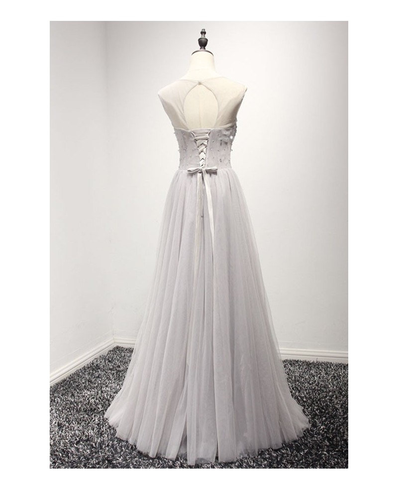 Dusty A-line Scoop Neck Floor-length Tulle Prom Dress With Beading