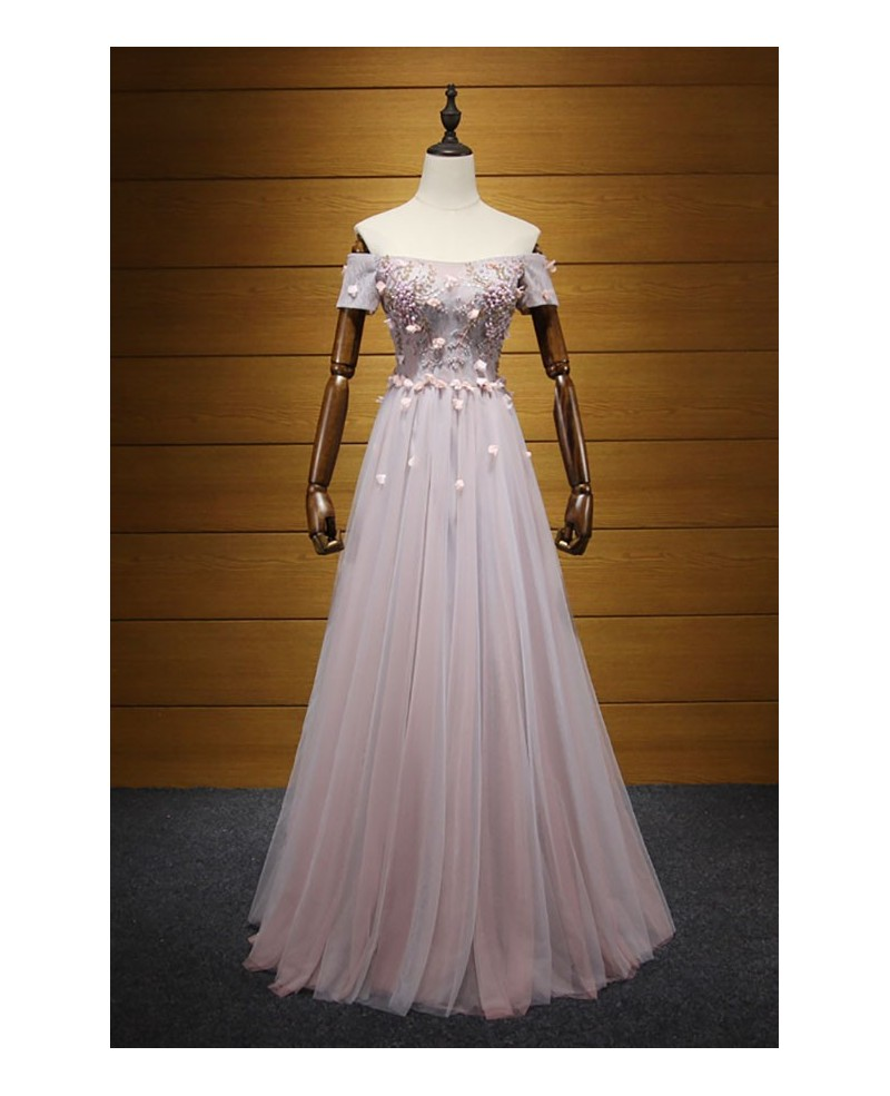 Blush A-line Off-the-shoulder Floor-length Tulle Prom Dress With Beading