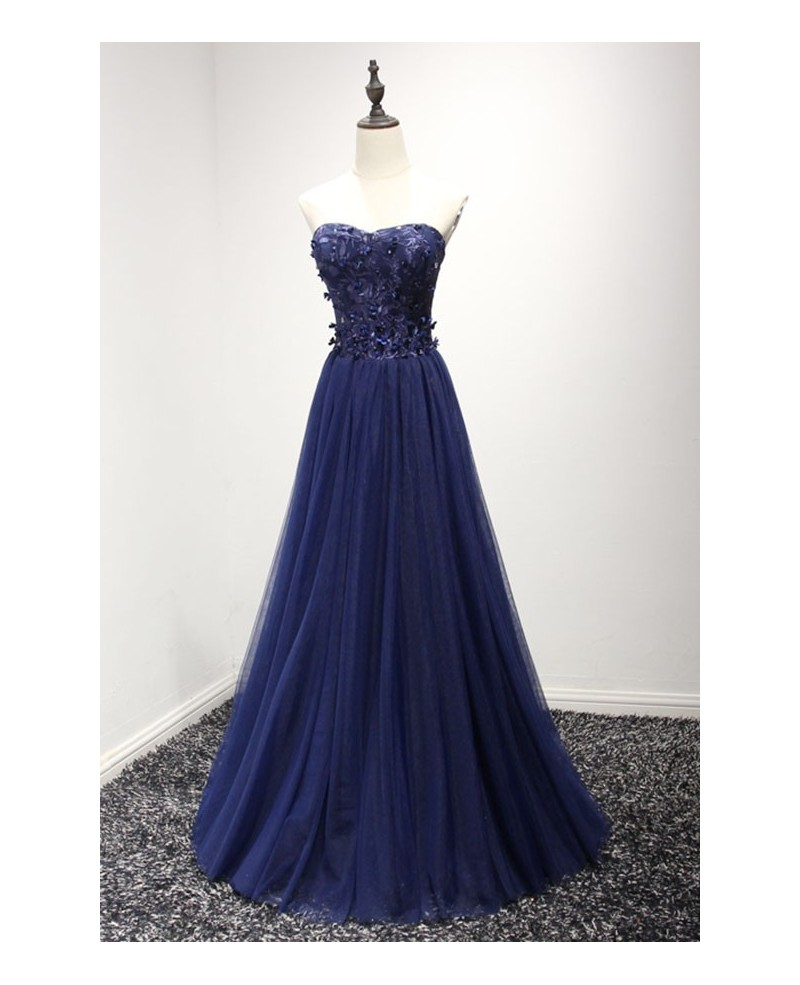 Navy A-line Sweetheart Floor-length Tulle Prom Dress With Appliques Lace