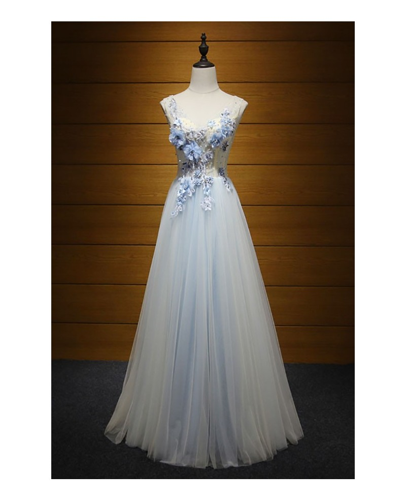 Romantic A-line V-neck Floor-length Tulle Prom Dress With Flowers