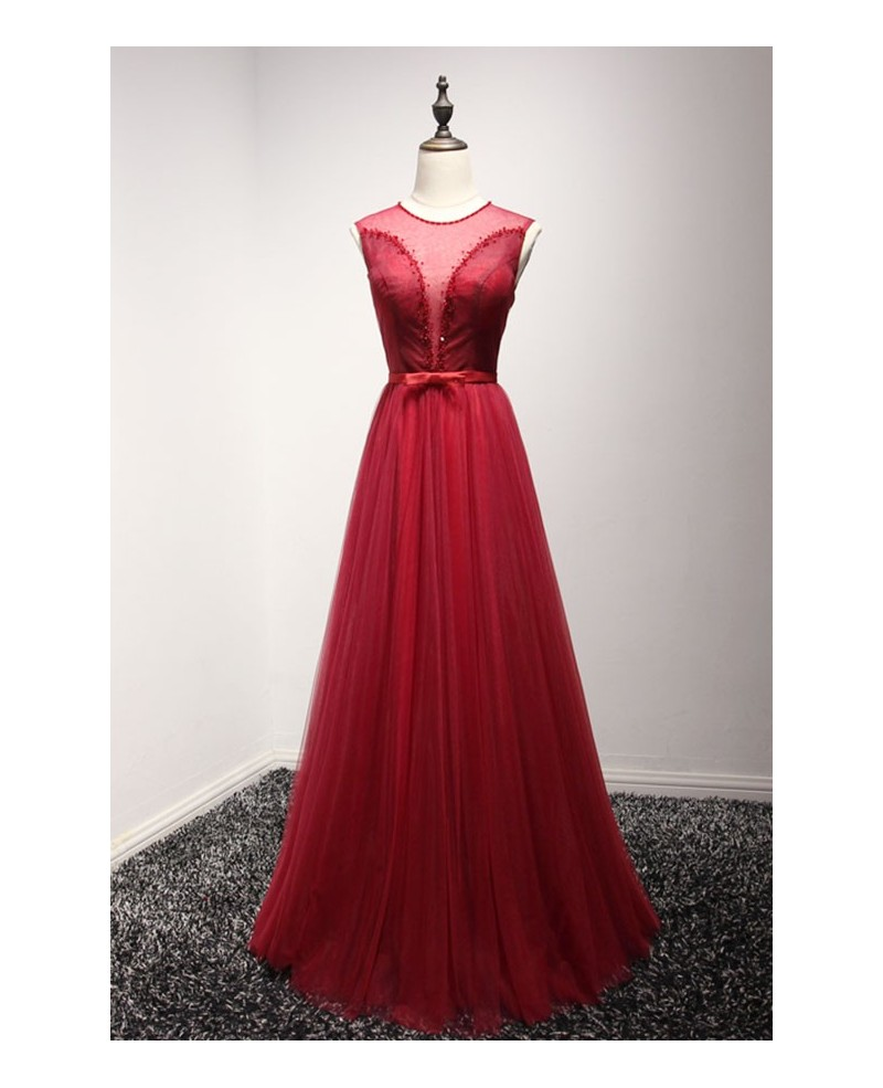 Red A-line Scoop Neck Floor-length Tulle Prom Dress With Beading
