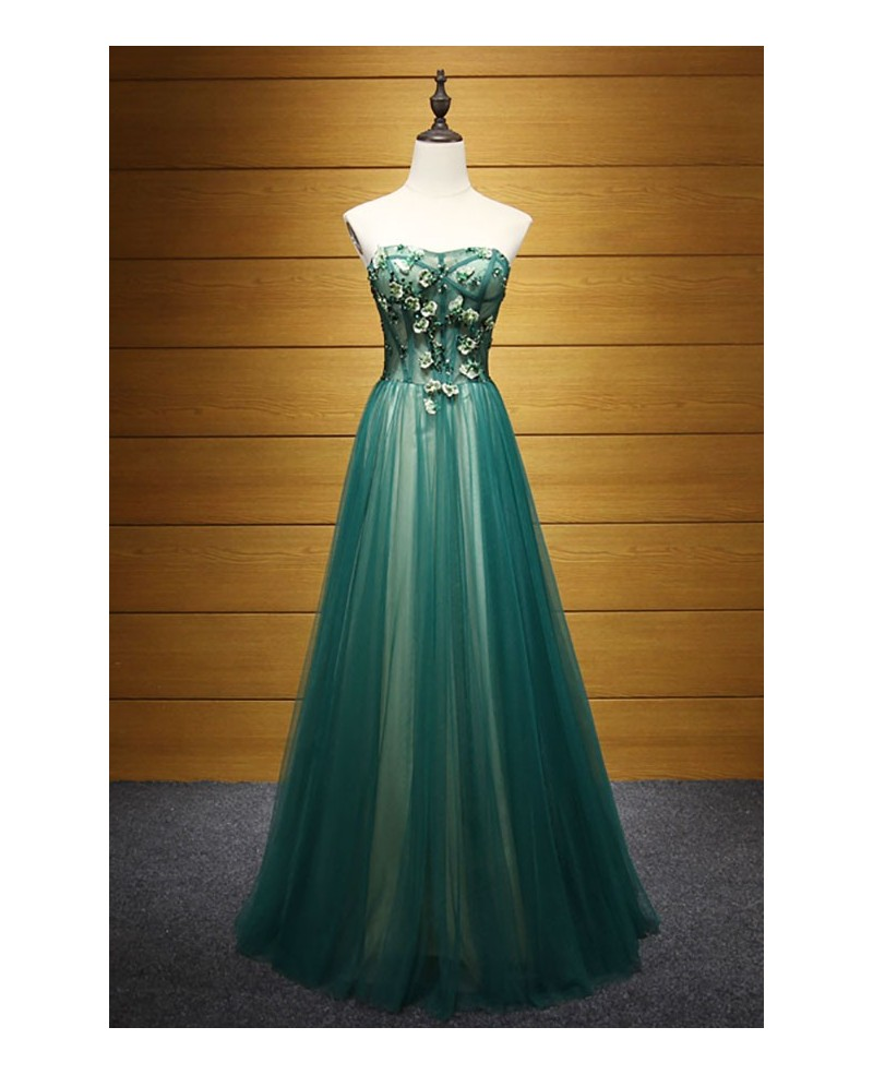 Elegant A-line Sweetheart Floor-length Tulle Prom Dress With Beading