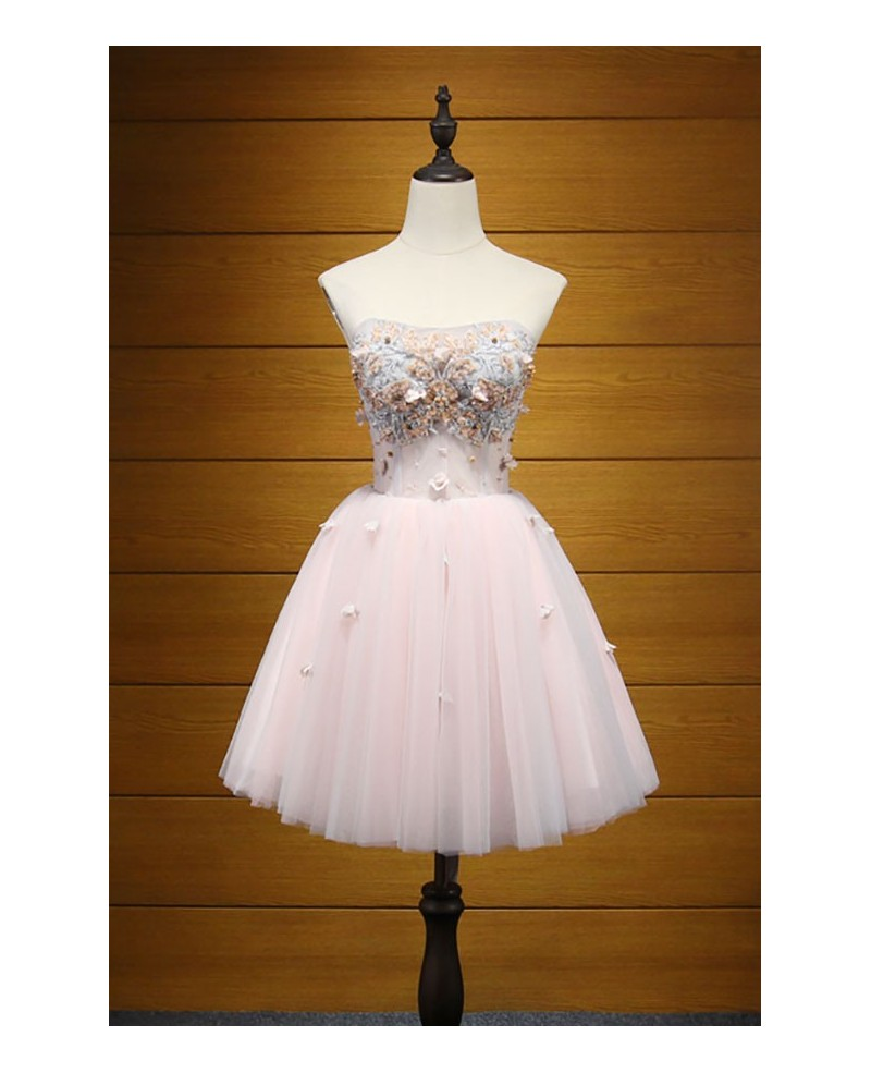 Pink Ball-gown Strapless Short Tulle Homecoming Dress With Appliques Lace