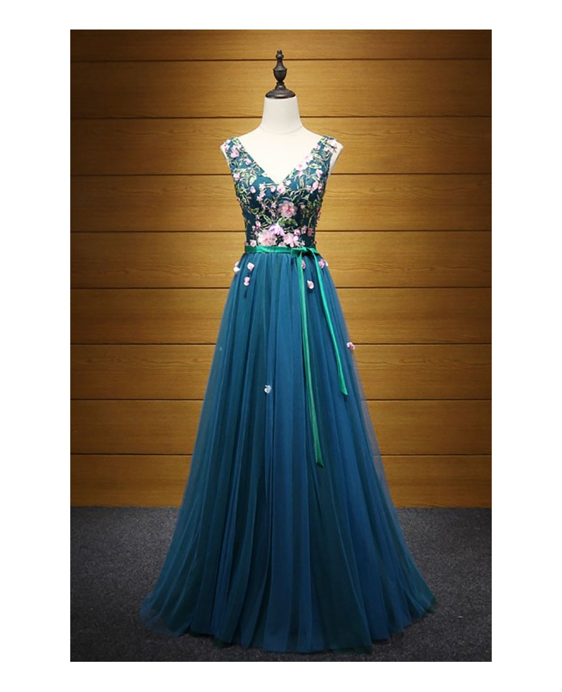 Exquisite A-line V-neck Floor-length Tulle Prom Dress With Embroidery
