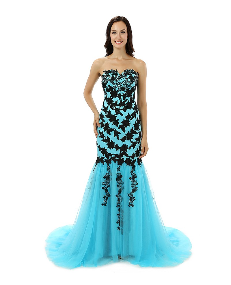 A-line Sweetheart Court-train Prom Dress
