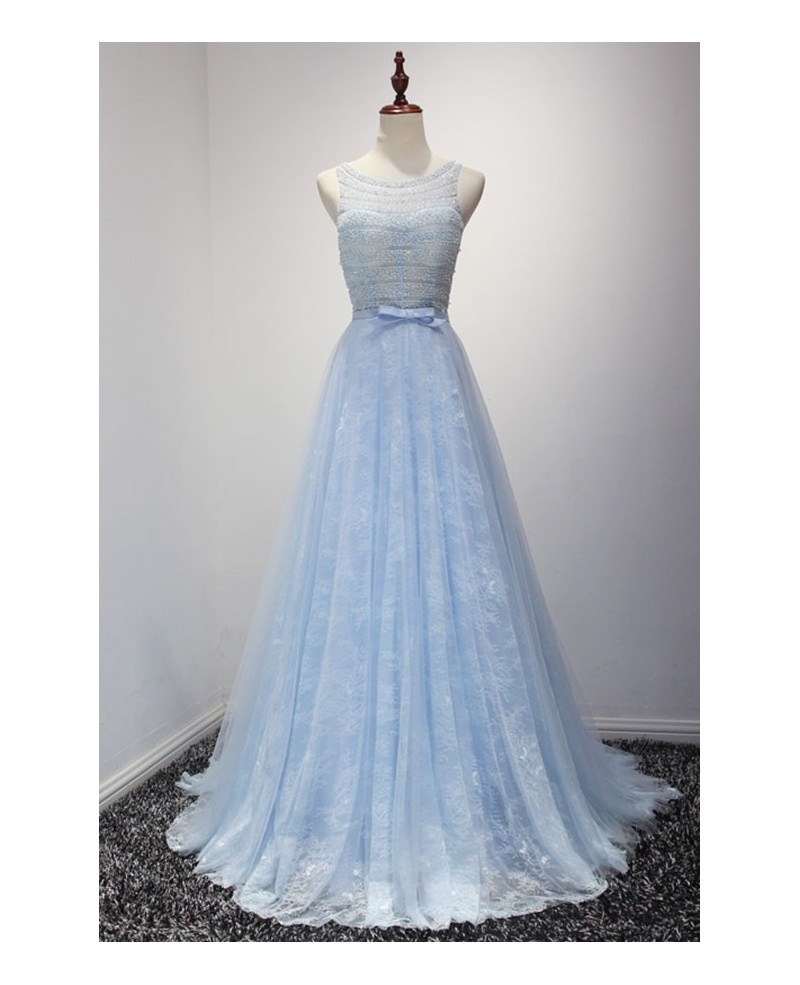 Blue Ball-gown Scoop Neck Floor-length Tulle Prom Dress With Lace