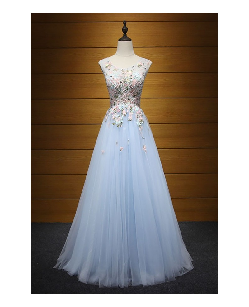 Exquisite Ball-gown V-neck Floor-length Tulle Prom Dress With Beading