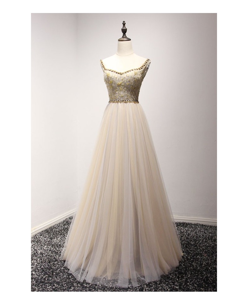 Champagne A-line V-neck Floor-length Tulle Prom Dress With Beading