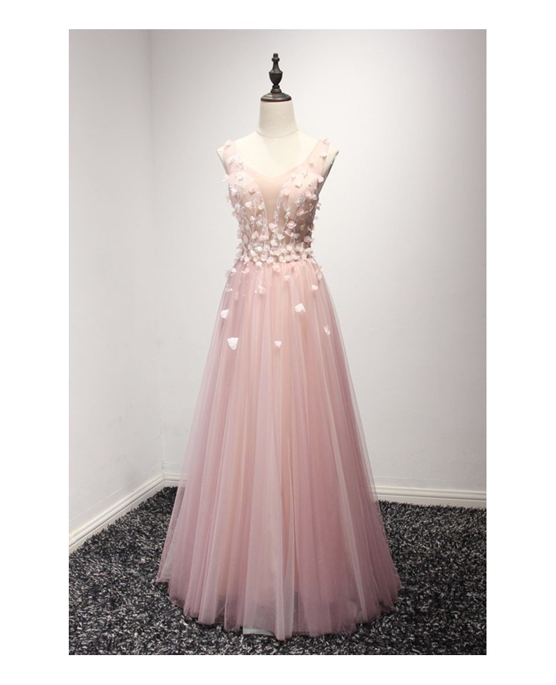 Blush A-line V-neck Floor-length Tulle Prom Dress With Flowers