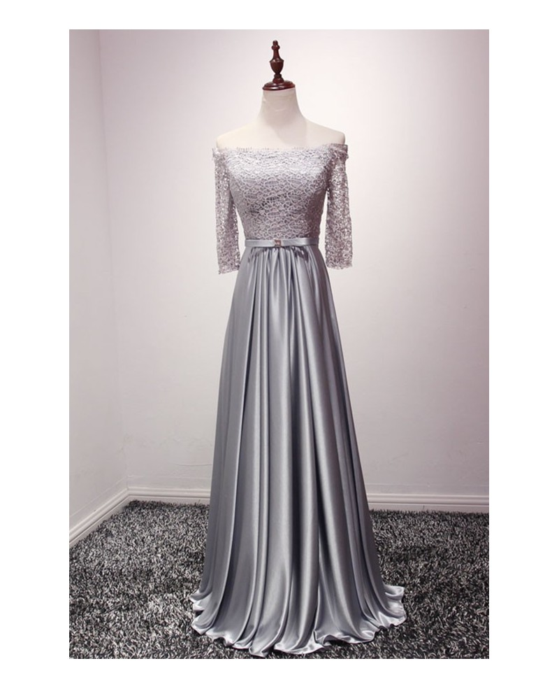 Elegant A-line Off-the-shoulder Floor-length Satin Prom Dress With Lace