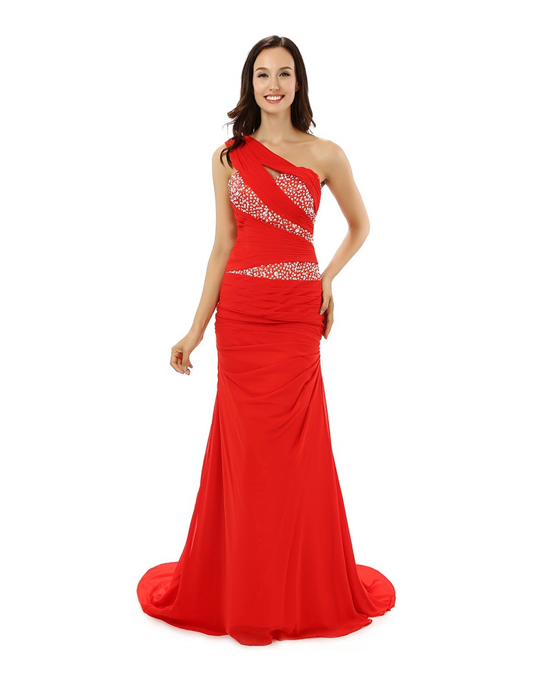 A-line One-shoulder Sweep-length Prom Dress