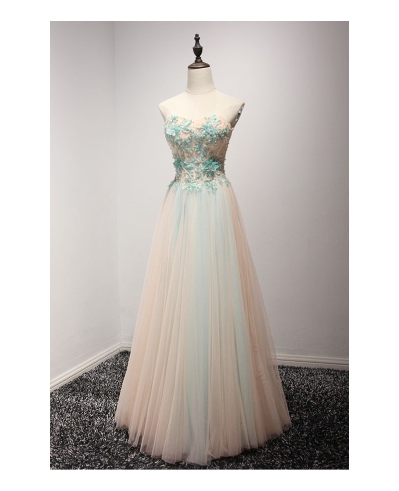 Peach A-line Sweetheart Floor-length Tulle Prom Dress With Appliques Lace