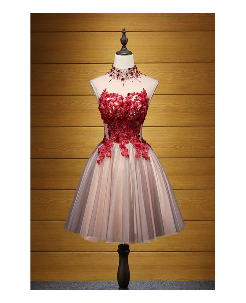 Special Ball-gown High Neck Short Tulle Homecoming Dress With Appliques Lace