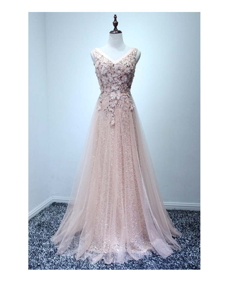 Exquisite A-line V-neck Floor-length Tulle Prom Dress With Beading