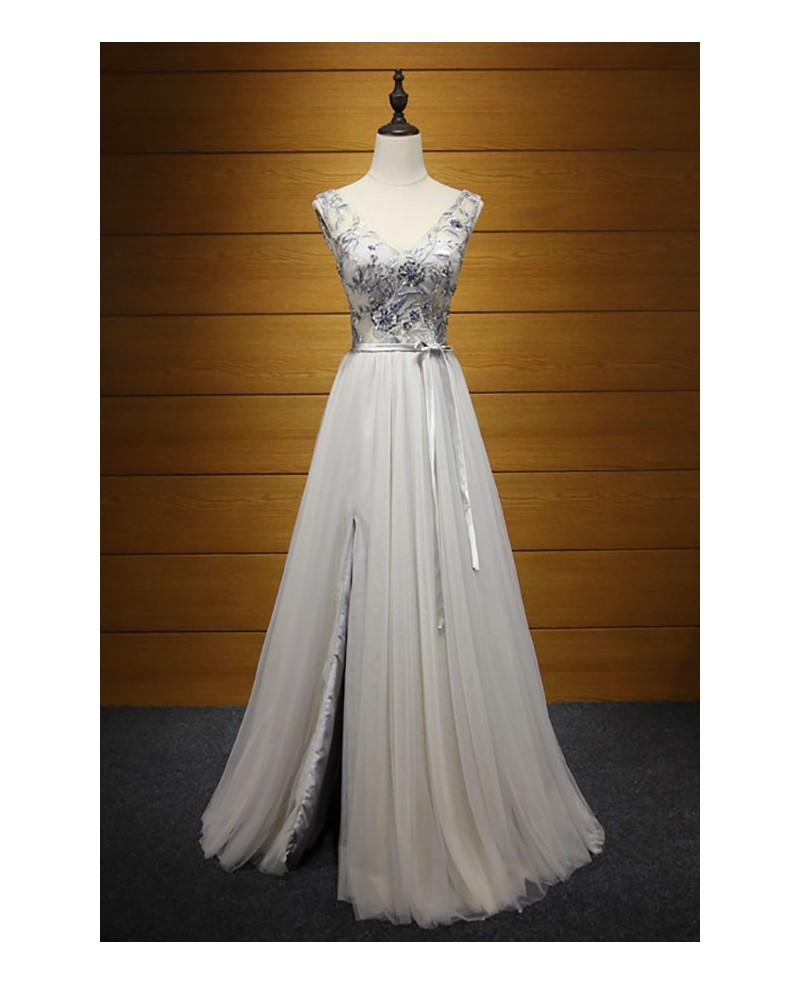 Dusty A-line V-neck Floor-length Tulle Prom Dress With Slit