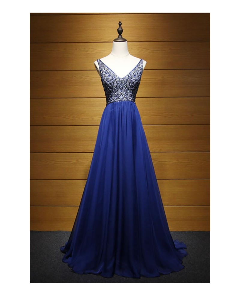 Glamour A-line V-neck Floor-length Tulle Prom Dress With Beading