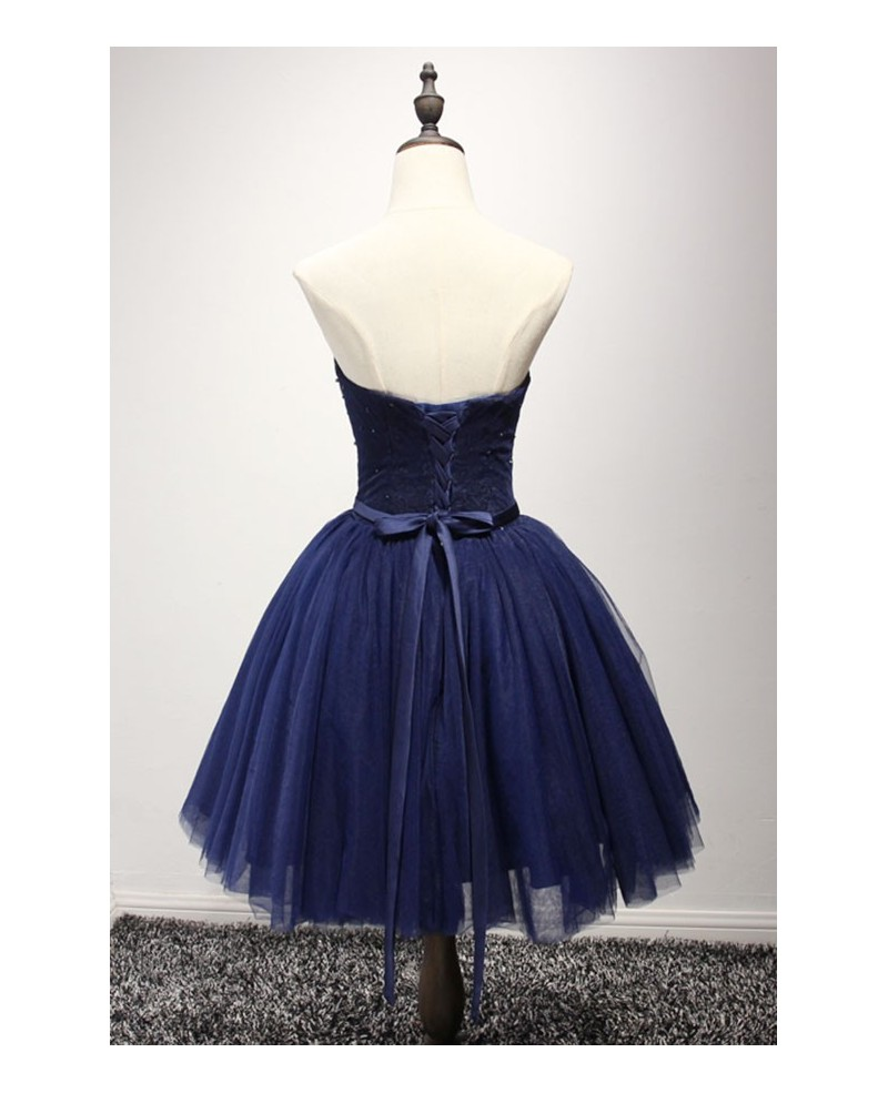Navy Ball-gown Sweetheart Short Tulle Homecoming Dress With Beading