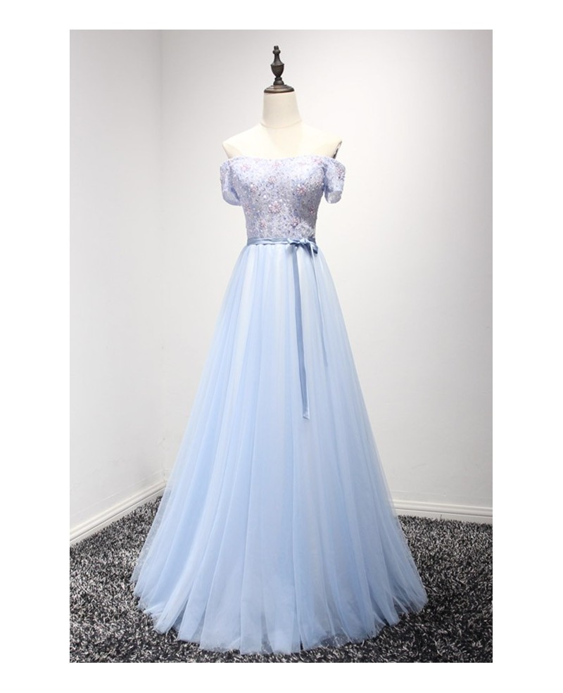 Feminine A-line Off-the-shoulder Floor-length Tulle Prom Dress With Beading
