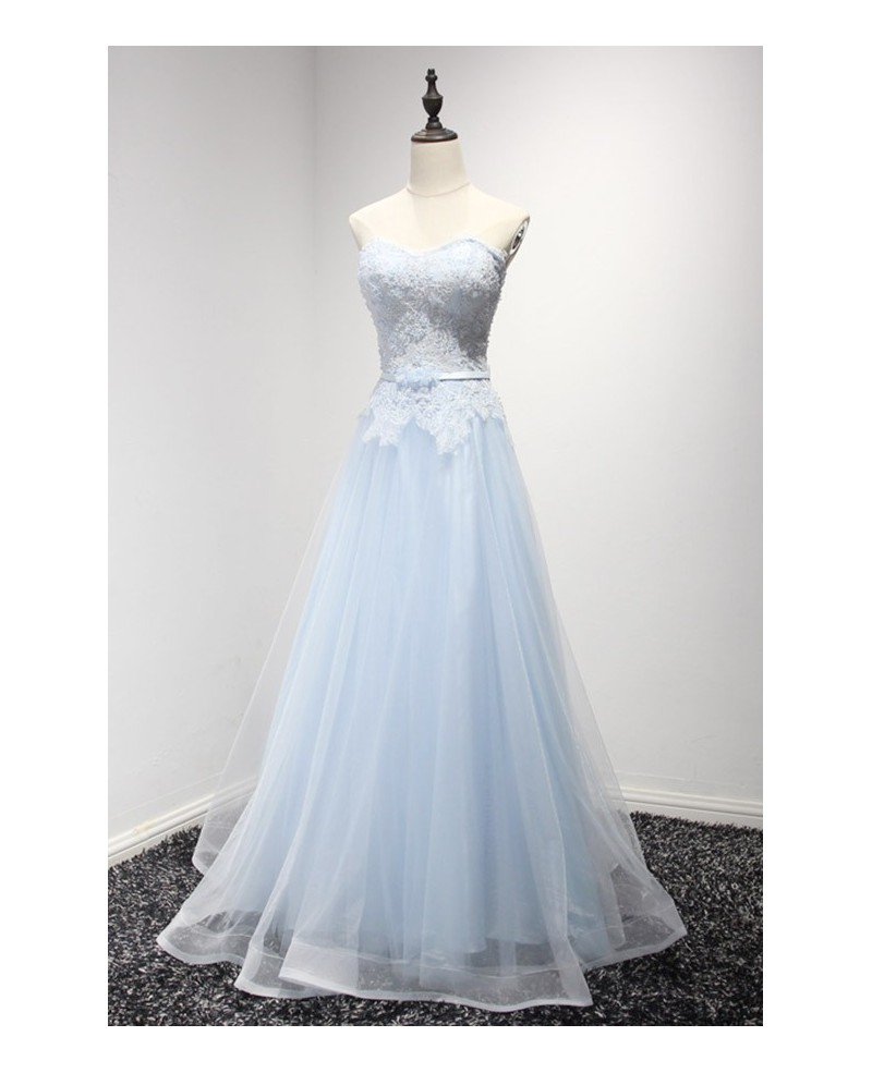 Romantic A-line Sweetheart Floor-length Tulle Prom Dress With Lace