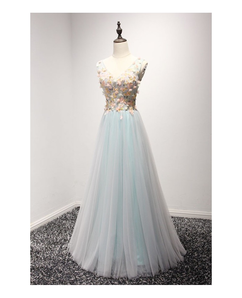 Stunning A-line V-neck Floor-length Tulle Prom Dress With Beading