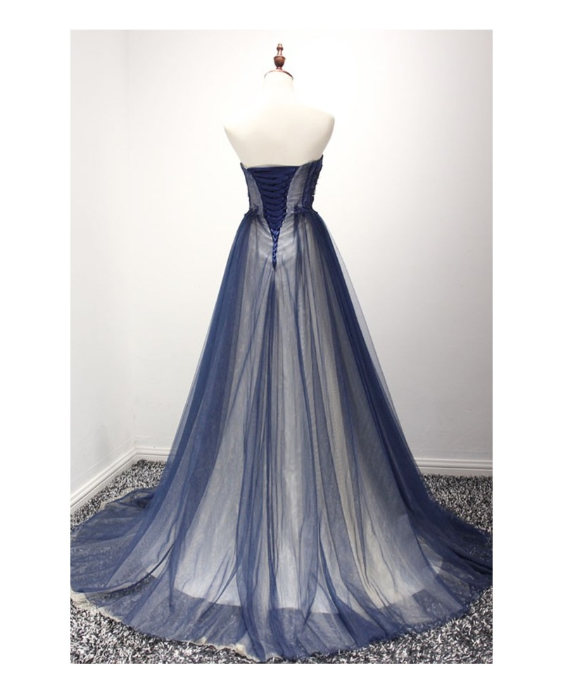 Navy Ball-gown Strapless Court Train Tulle Prom Dress With Beading