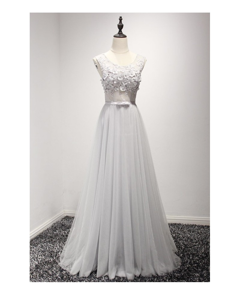 Simple A-line Scoop Neck Floor-length Tulle Prom Dress With Appliques Lace