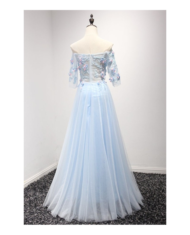 Blue A-line Off-the-shoulder Floor-length Tulle Prom Dress With Flowers
