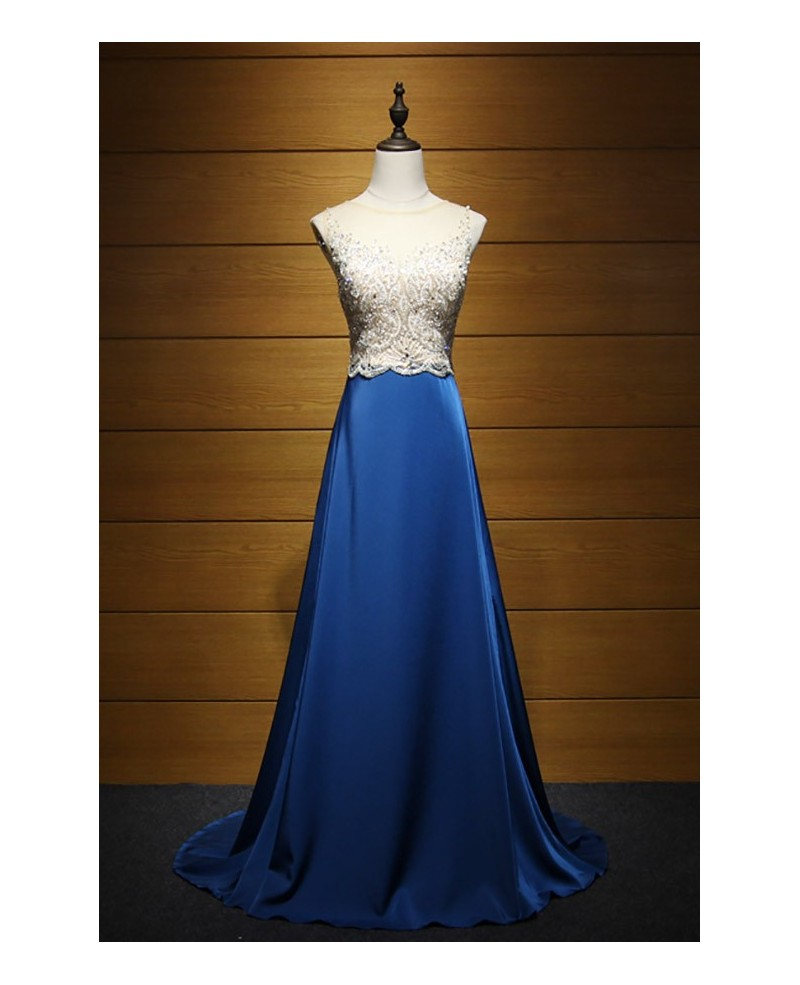 Gorgeous A-line Scoop Neck Sweep Train Satin Prom Dress With Beading