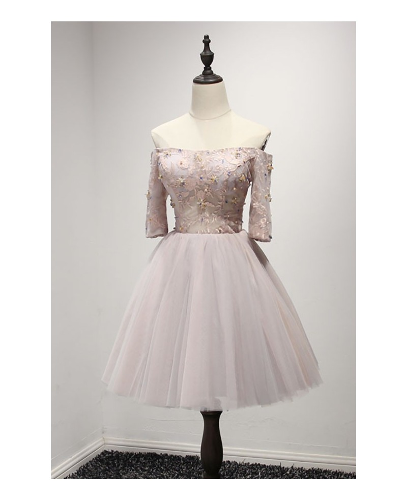 Cute Ball-gown Off-the-shoulder Short Tulle Homecoming Dress With Beading
