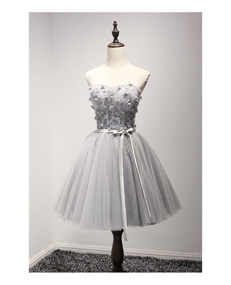 Grey Ball-gown Sweetheart Short Tulle Homecoming Dress With Beading