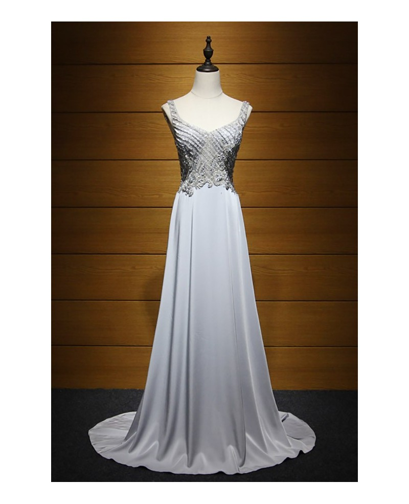 Gorgeous A-line V-neck Sweep Train Satin Chiffon Prom Dress With Beading