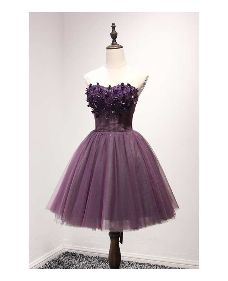 Purple Ball-gown Sweetheart Short Tulle Homecoming Dress With Appliques Lace