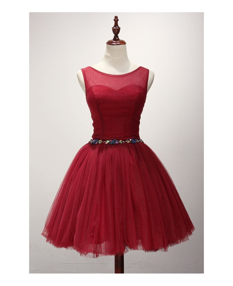 Red Ball-gown Scoop Neck Short Tulle Homecoming Dress With Beading
