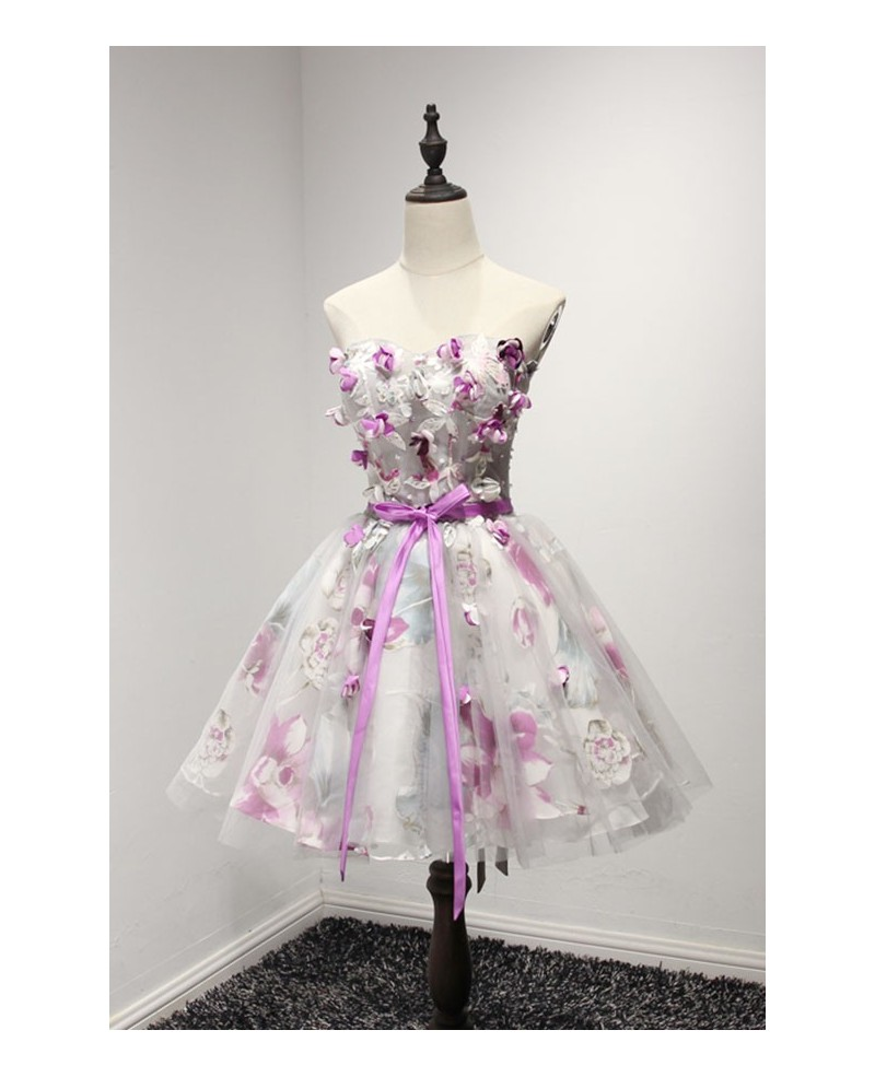 Floral Ball-gown Sweetheart Short Tulle Homecoming Dress With Flowers