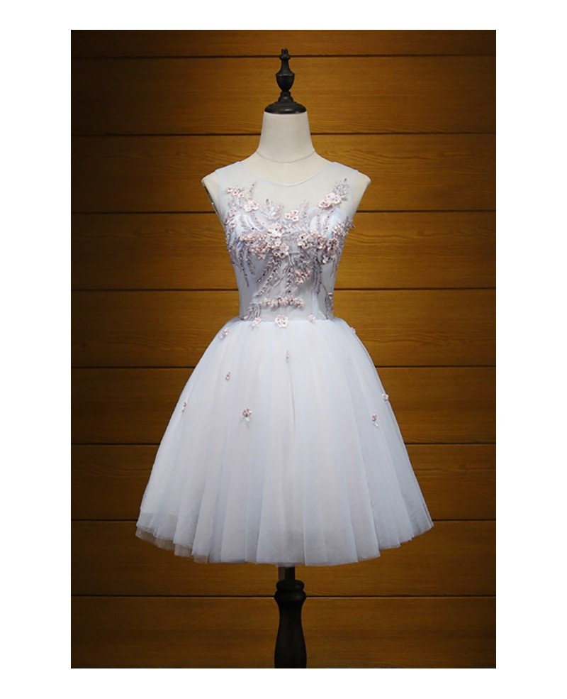 Princess A-line Scoop Neck Short Tulle Homecoming Dress With Appliques Lace