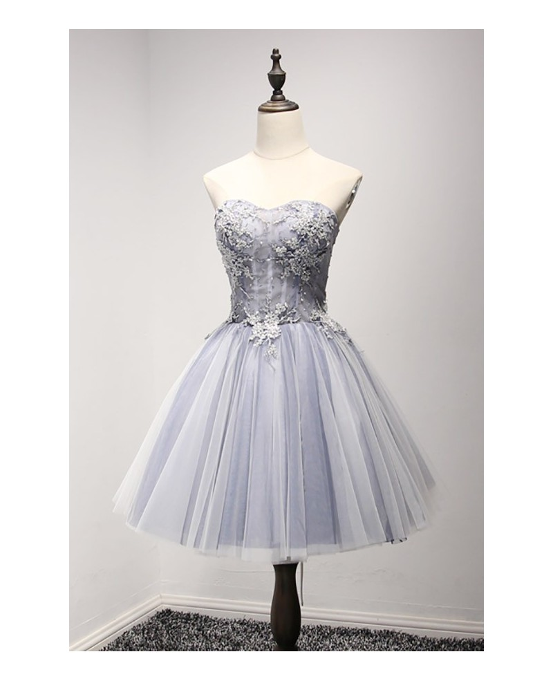 Dusty Blue Ball-gown Sweetheart Short Tulle Homecoming Dress With Beading