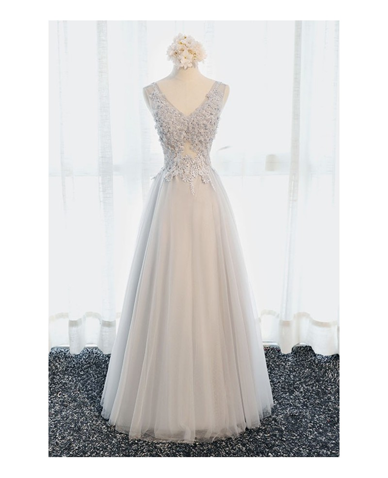 Princess A-line V-neck Floor-length Tulle Prom Dress With Beading
