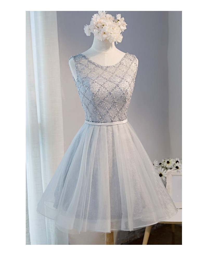 Princess Ball-gown Scoop Neck Short Tulle Homecoming Dress With Beading