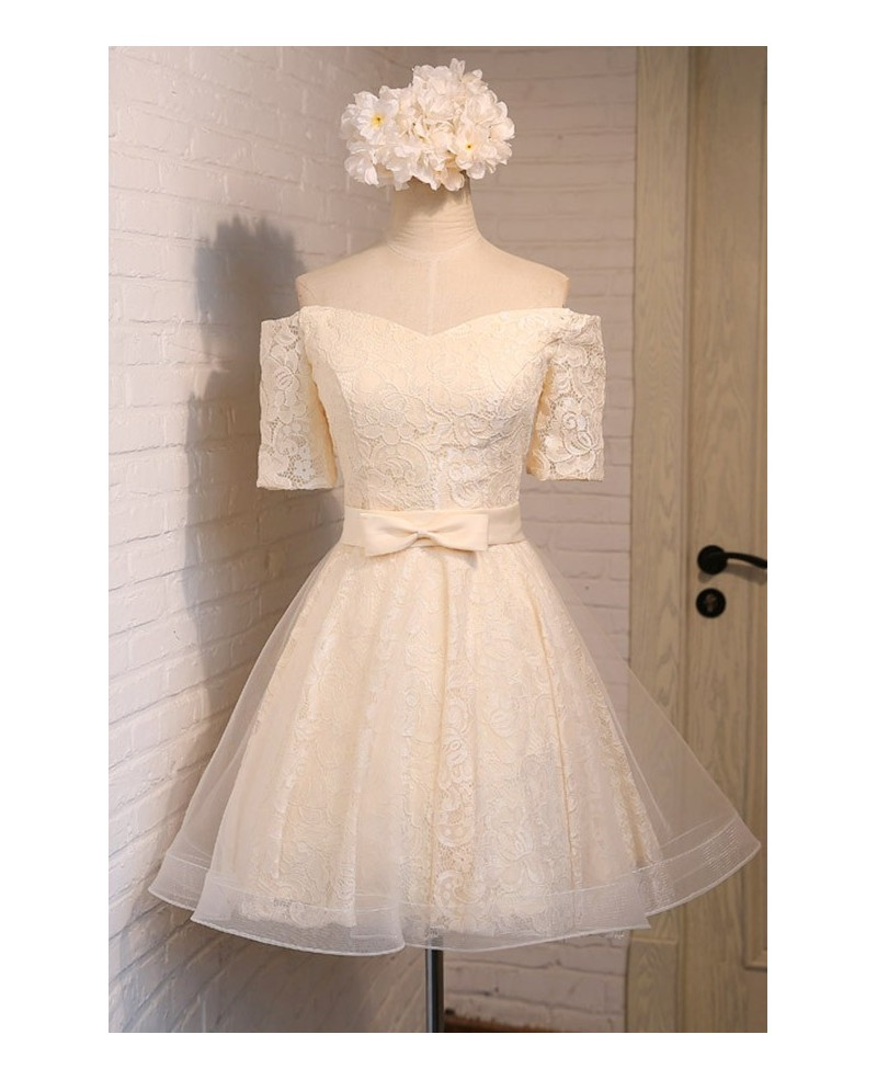 Simple A-line Off-the-shoulder Short Tulle Homecoming Dress With Lace