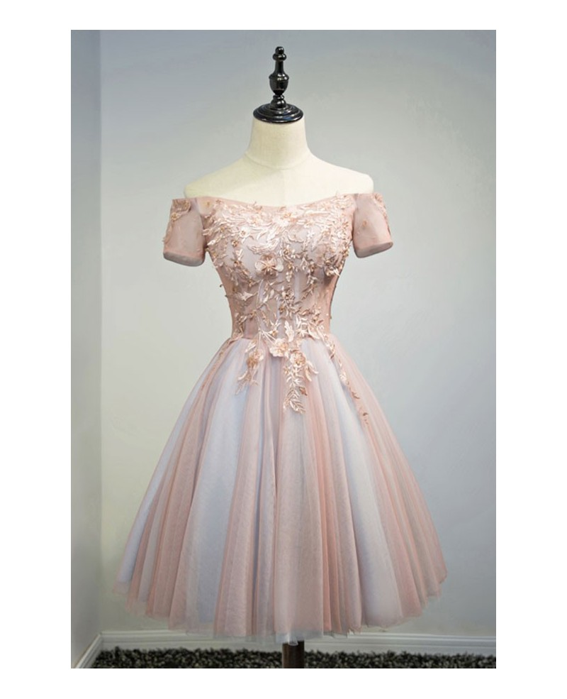 Special Ball-gown Off-the-shoulder Short Tulle Homecoming Dress With Appliques Lace